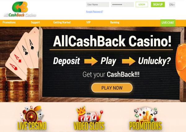 AllCashback Casino Homepage
