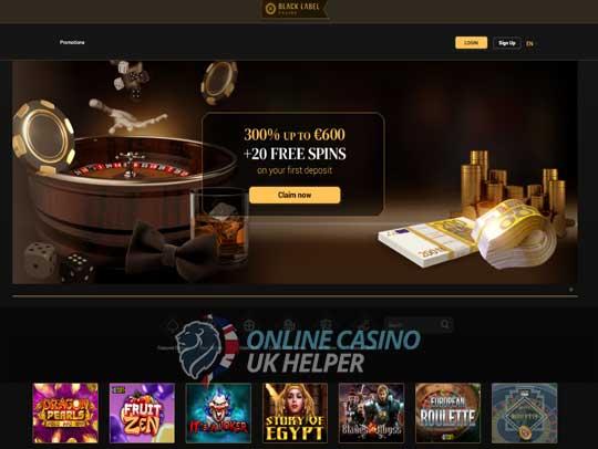 screenshot of Black Label Casino homepage