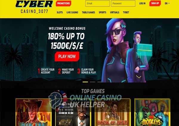 screenshot of CyberCasino 3077 homepage