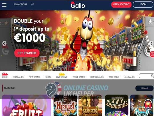 screenshot of Gallo Casino homepage