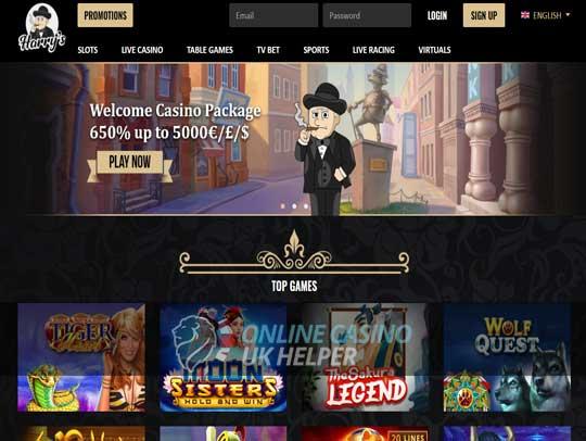 screenshot of Harry's homepage