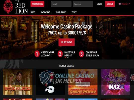 screenshot of Red Lion homepage