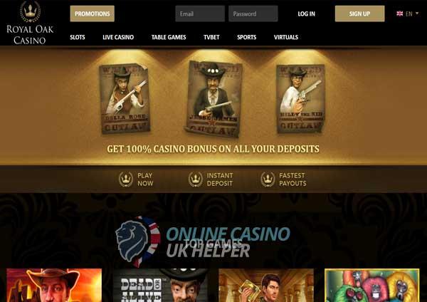 screenshot of Royal Oak Casino homepage