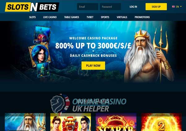 screenshot of SlotsNBets homepage